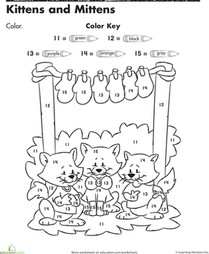 Color By Numbers Kittens And Mittens Preschool Colors Cute Coloring Pages Color By Numbers