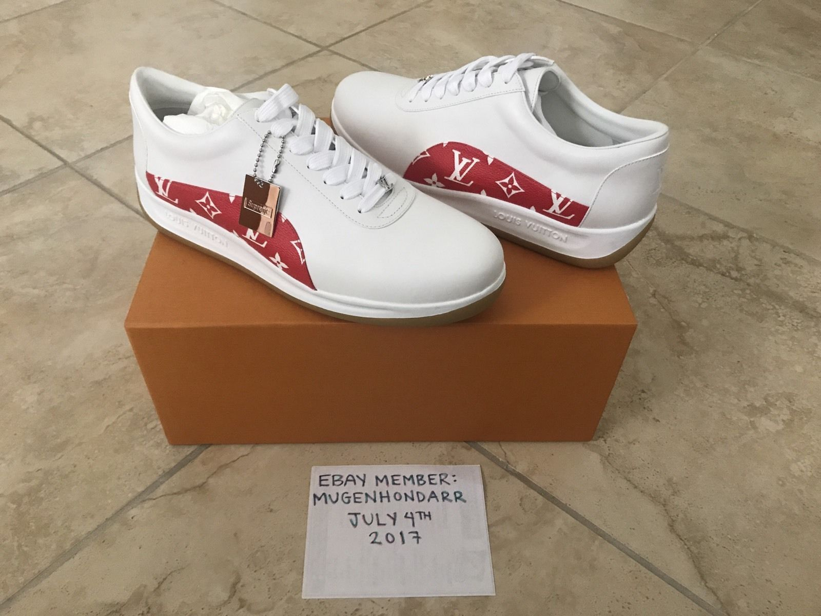 92fb8e608 Louis Vuitton x Supreme Monogram Red White Sport Sneakers Shoes LV Size 9  US 10 #sneakers #shoes #size #sport #white #vuitton #supreme #monogram  #louis