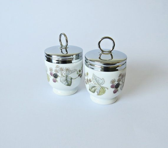Vintage Egg Coddlers - Royal Worcester Porcelain - Vintage Transfer Design - Egg Coddlers