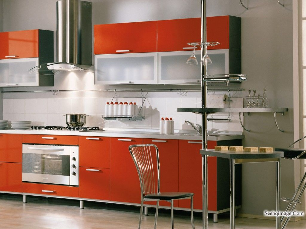 Exceptionnel Innovative Small Modular Kitchen Decor Inspirations : Impressive Grey Small  Modular Kitchen Design With Orange Kitchen