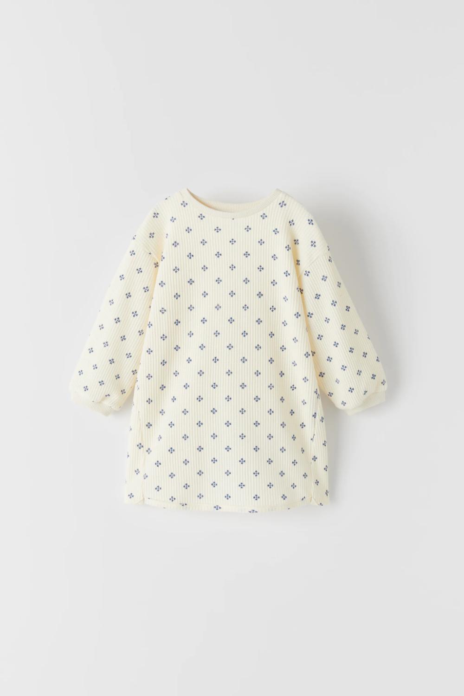 Printed Waffle Knit Dress Zara United States Knit Dress Waffle Knit Dresses [ 1500 x 1000 Pixel ]