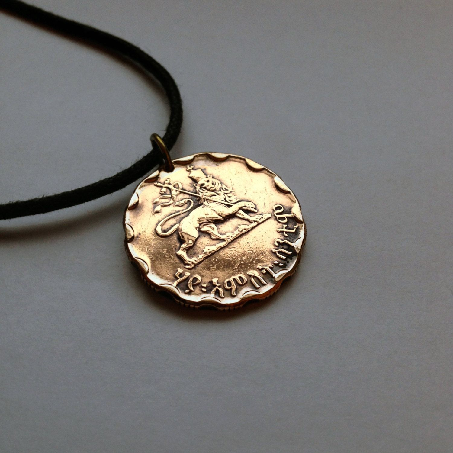 1944 Ethiopia 25 Santeem Cents coin pendant necklace jewelry Haile Selassie I Africa African crowned Lion of Judah World War 2 No.000618 by acnyCOINJEWELRY on Etsy