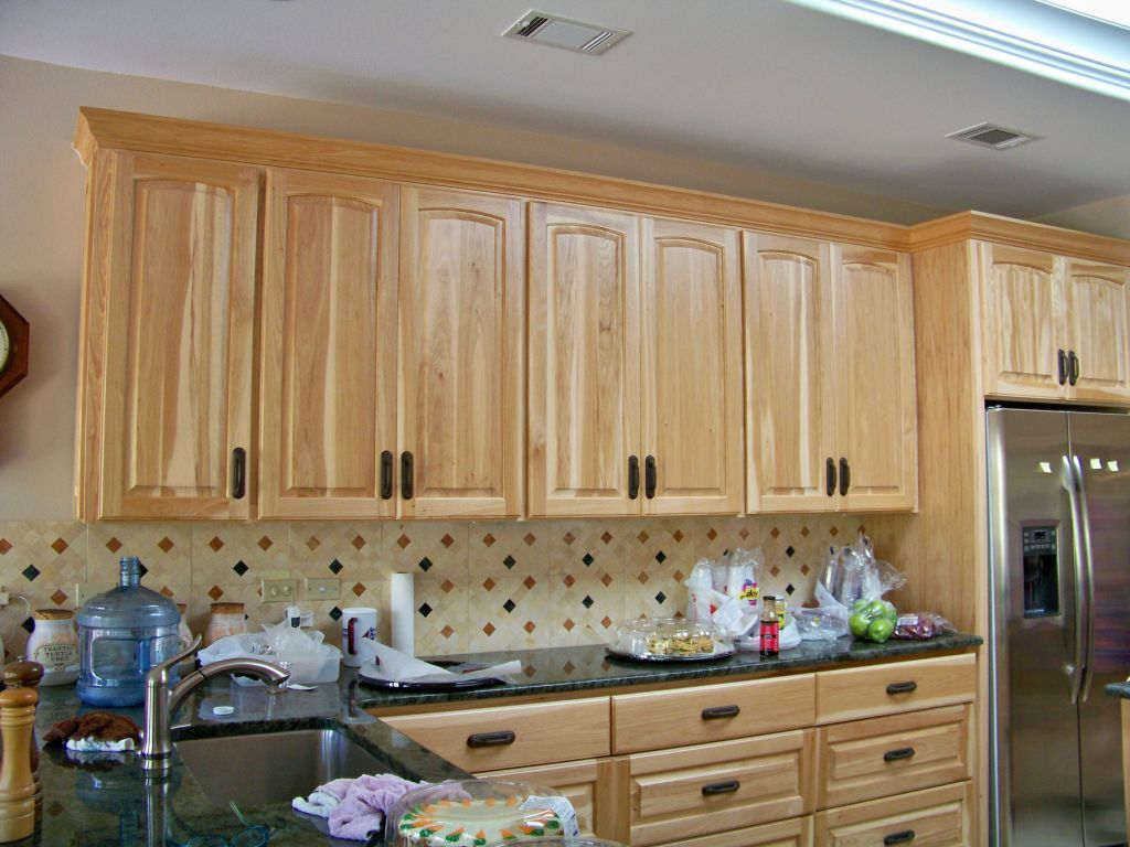 natural rustic pecan cabinets | Stained Kitchen Cabinets ...