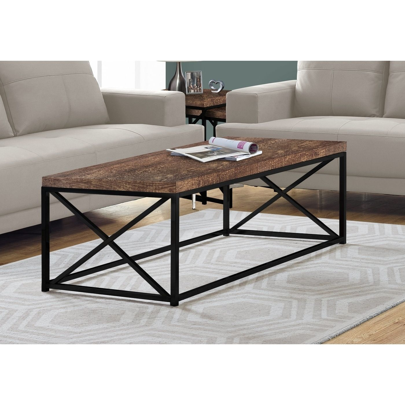 Coffee Table Brown Reclaimed Wood Look Black Metal Grey Wood