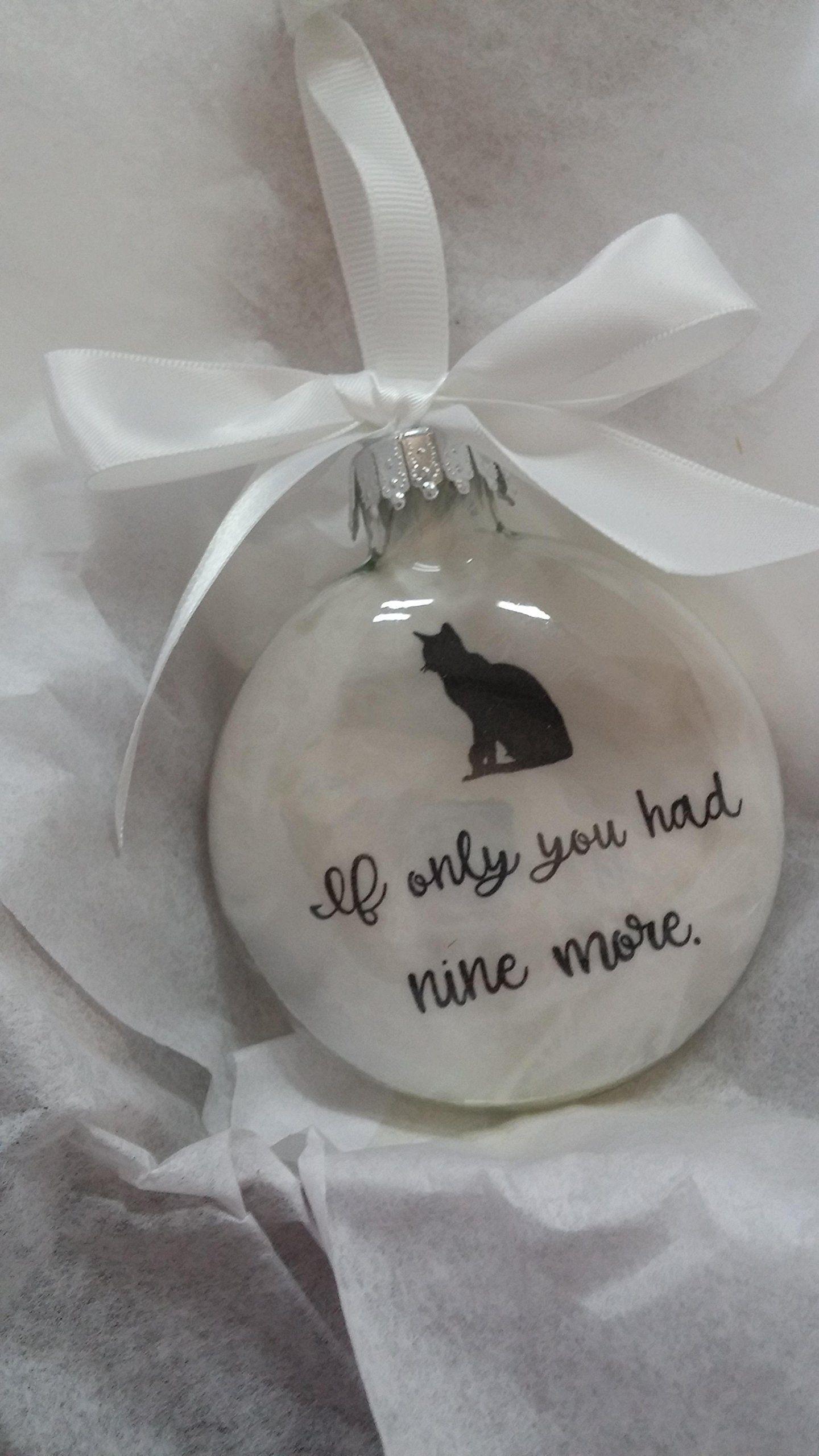 Cat loss pet memorial personalized ornament w optl charm