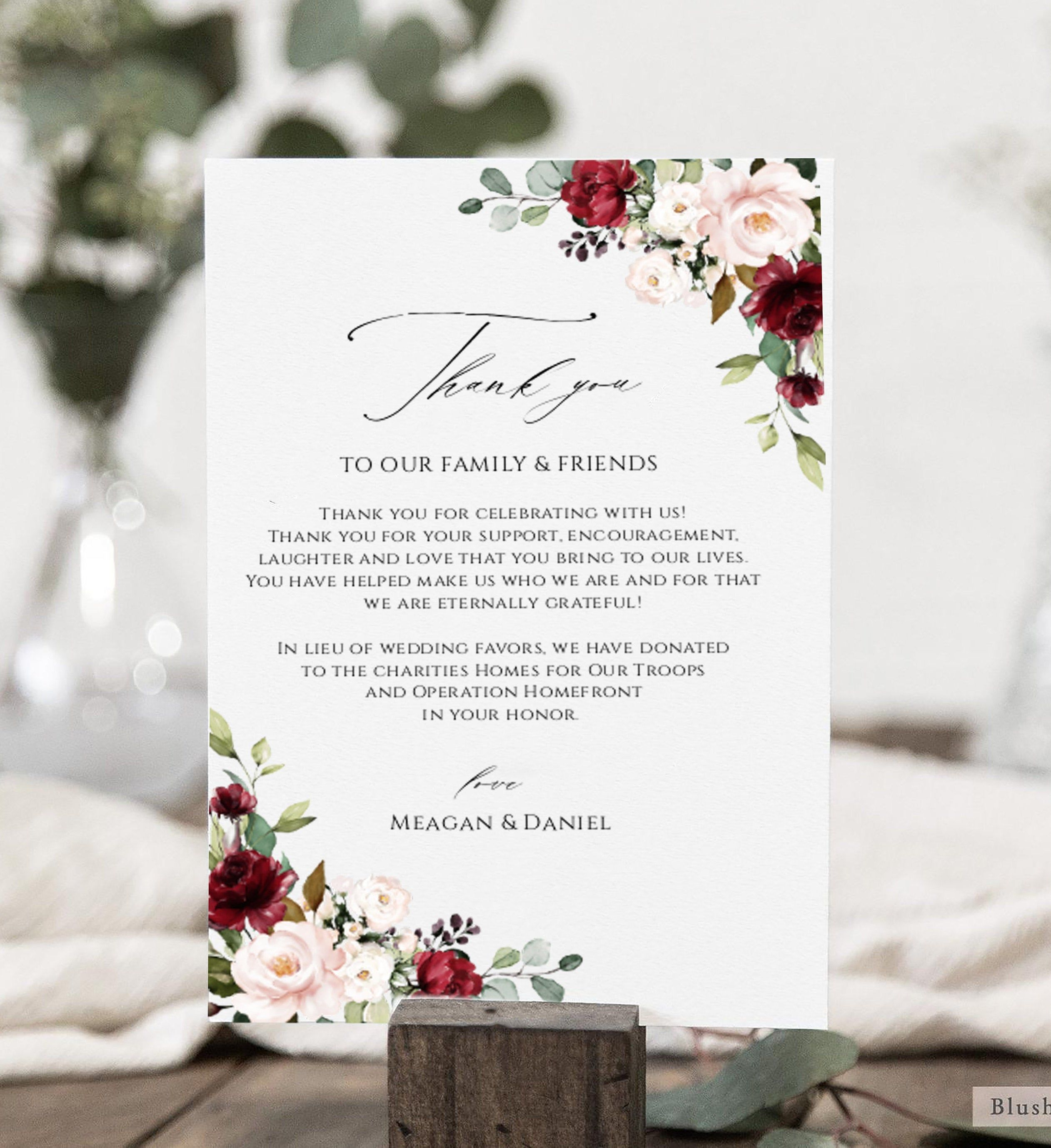 wedding thank you notes printable burgundy wedding thank