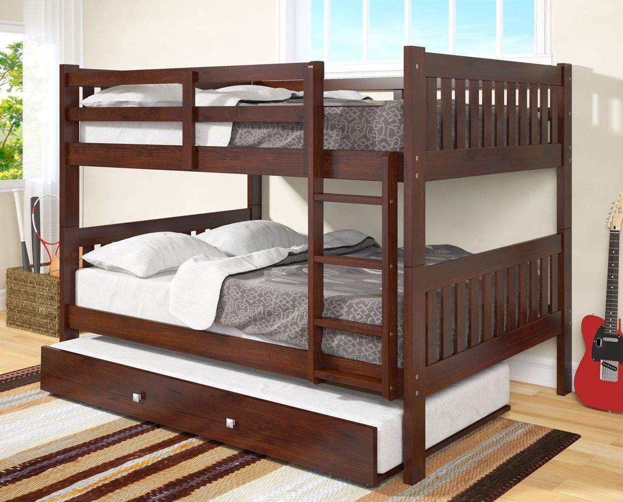 Max Full Size Cappuccino Bunk Bed With Trundle Kendall Bedroom