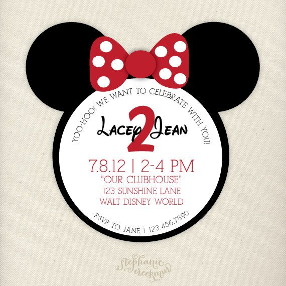 15 Minnie Mouse Invitations - Children's Birthday Invitations. $32.00, via Etsy.