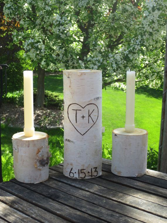"Personalized  Birch Bark Unity Candle 10"" Tall with Two 4"" Tall Birch Candle Holders Rustic Wedding on Etsy, $38.95"