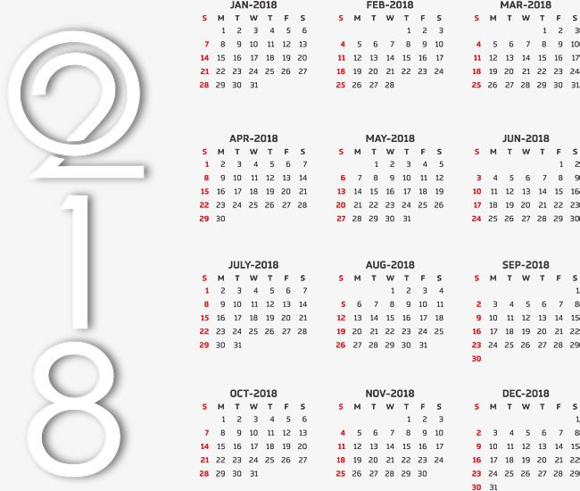Plantillas de calendario 2018, Vector PNG, Plantilla De Calendario ...