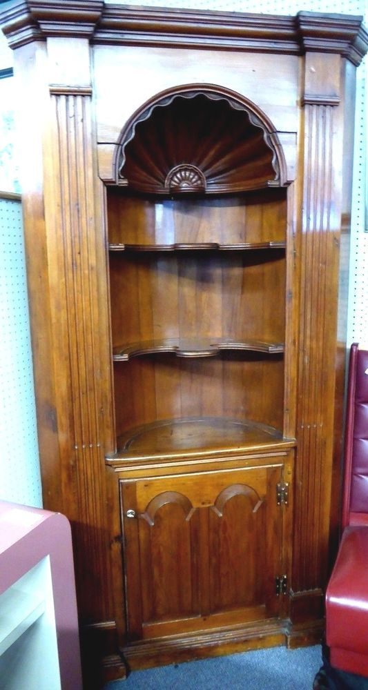 Antique Corner Cupboard w/Carved Shell Like Oval Office & Curved Shelves.  1840 - Antique Corner Cupboard W/Carved Shell Like Oval Office & Curved