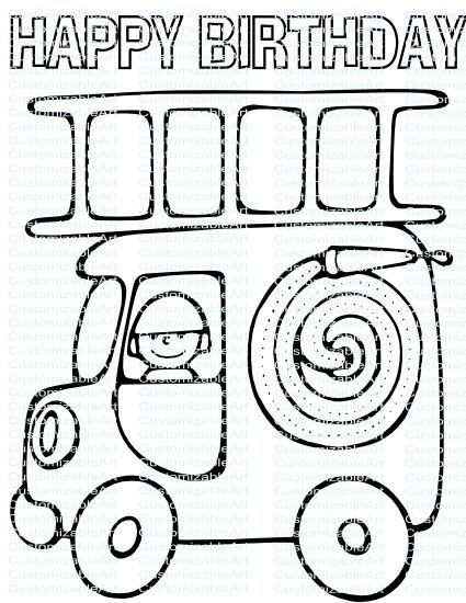 Fire Truck Party Printables Fire Truck Fireman Firefighter Etsy Truck Coloring Pages Fire Truck Party Valentines Day Coloring Page