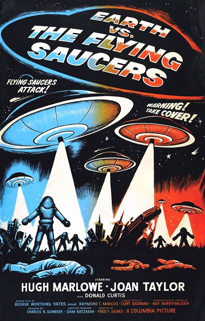 Aliens Invasion Saucer Men Space Travel Horror Movie Film Vintage Poster FREE SH