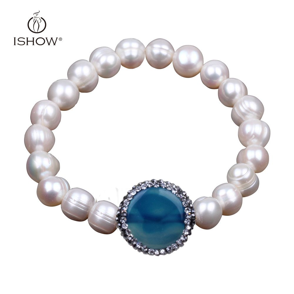 Crystal inlaid natural blue stone statement pearl bracelets for