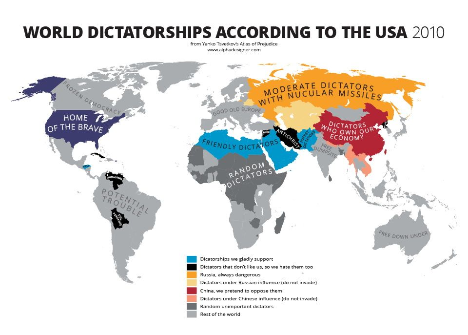 World dictatorships according to the usa pinterest world dictatorships according to the usa vivid maps gumiabroncs Images
