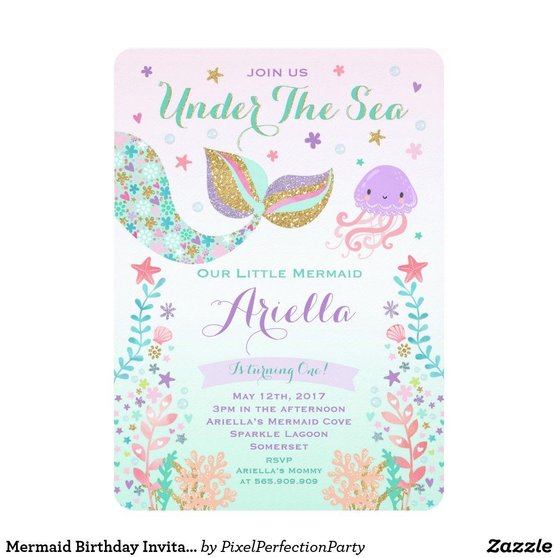 Mermaid Birthday Invitation Under The Sea Party First Birthday