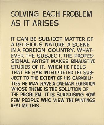 "John Baldessari. ""Solving Each Problem As It Arises,"" Acrylic on canvas, 1967. Yale University Art Gallery"