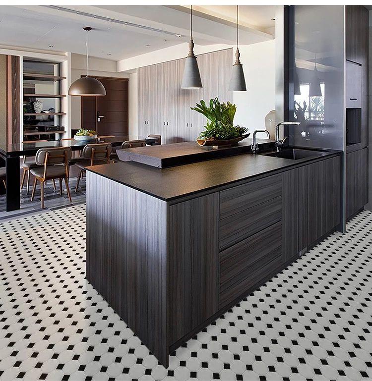 Beautiful Black And White Porcelain Mosaic Kitchen Floor Tile Simply Brilliant By Merola Tile Simple Kitchen Kitchen Inspirations White Kitchen Tiles