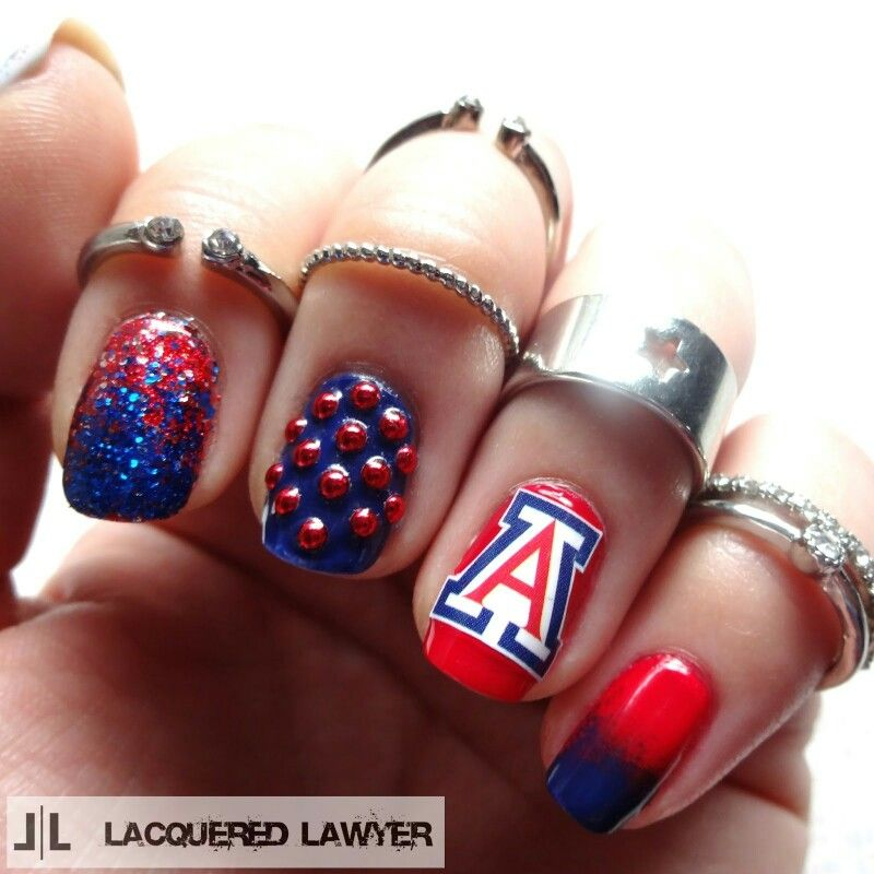 Arizona Wildcats red and blue nails Work nails, Football