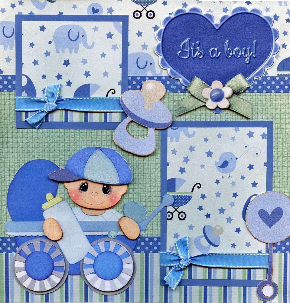 IT'S A BOY ~ BABY 2 Premade Scrapbook Pages paper piecing layout 4 album CHERRY #BowlFullofCherriesScrapbooking