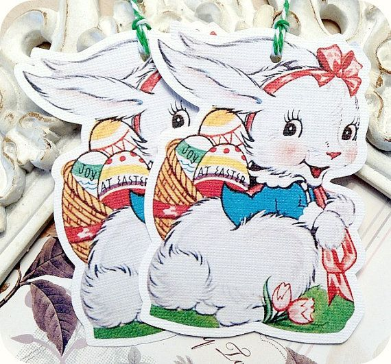 NEW  Retro Easter Bunny Tags  Set of 6  by LittlePaperFarmhouse, $5.95
