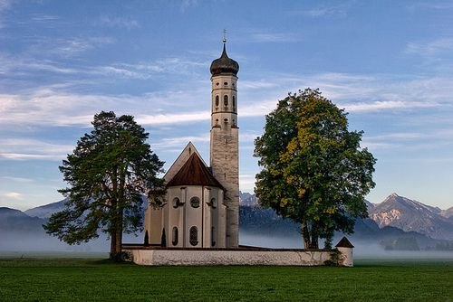 Schwangau, view of St. Coloman's Sanctuary, Bavaria, Germany