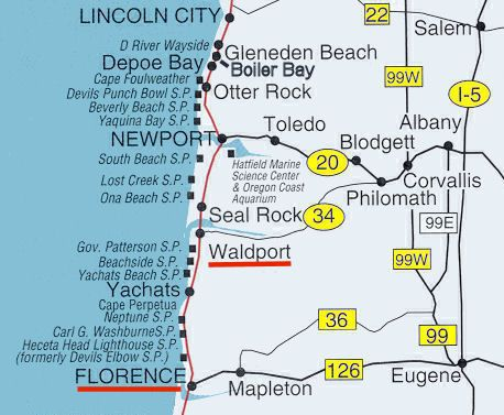 Map Of Waldport Oregon Oregon Central Coast Map North Central section page 3 | Washington