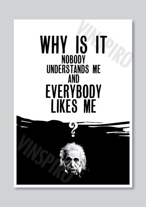 Quote print, Einstein typography poster, inspirational art