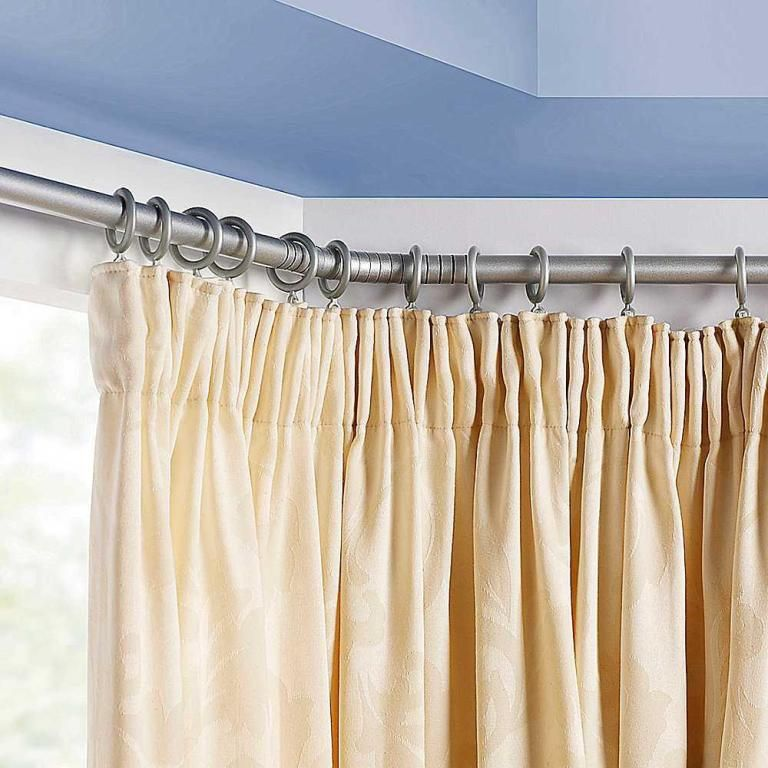 Furniture Varnished Barricade Bay Window Curtain Rod Also