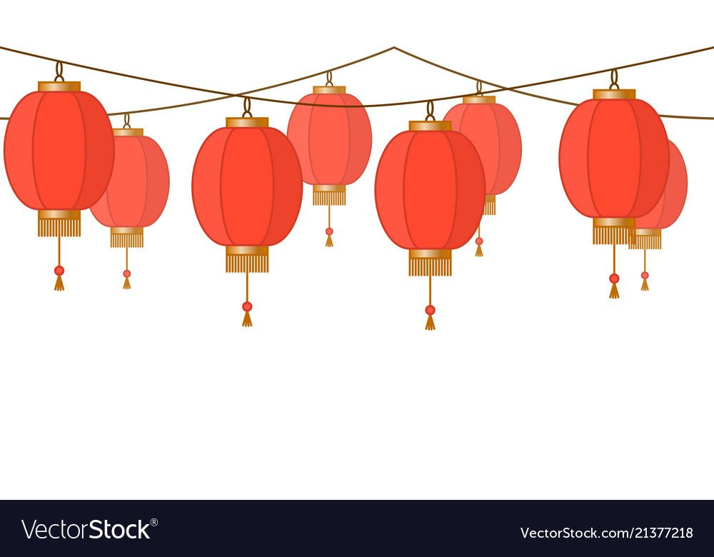 Garland with chinese lantern chain red asian vector image ...