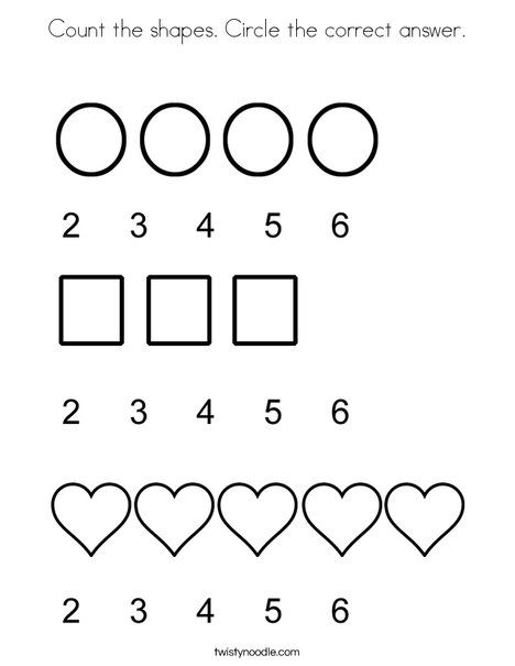 Count The Shapes Circle The Correct Answer Coloring Page Coloring Pages Shapes Mini Books