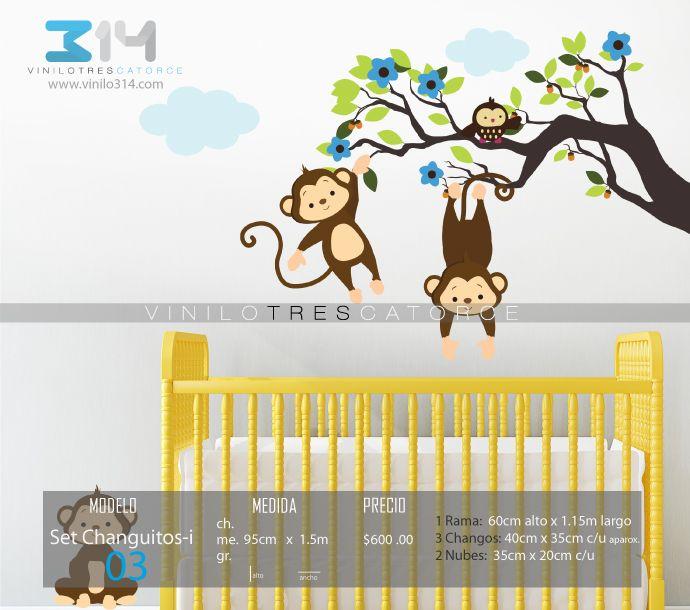 vinilos decorativos rboles infantiles sticker decorativo set cahanguitos jungla changos rama