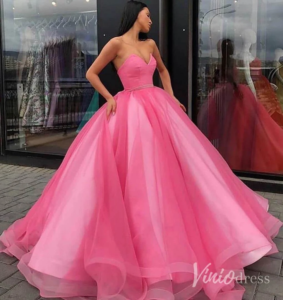 Simple Strapless Fluffy Ball Gown Quinceanera Dresses Vintage Prom Dress Fd2098 In 2021 Senior Prom Dresses Princess Ball Gowns Ball Dresses [ 1024 x 967 Pixel ]
