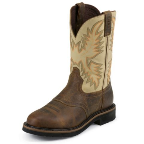 Justin Men S Stampede Cowboy Work Boot Leather From