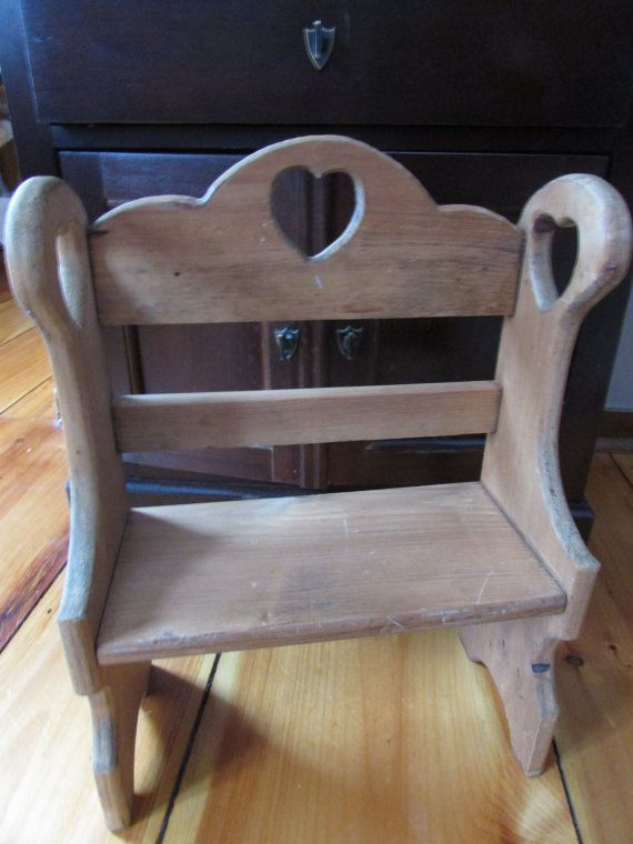 Wooden Bench With Backrest Vtg Wooden Small Bench With Heart Vintage