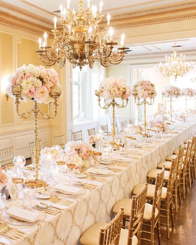 Blush And Gold Wedding Reception Decoration Tall Centerpieces Weddingreception Goldwedding