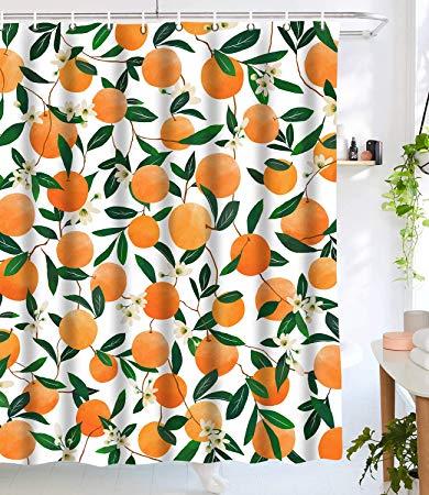 lifeel orange shower curtains
