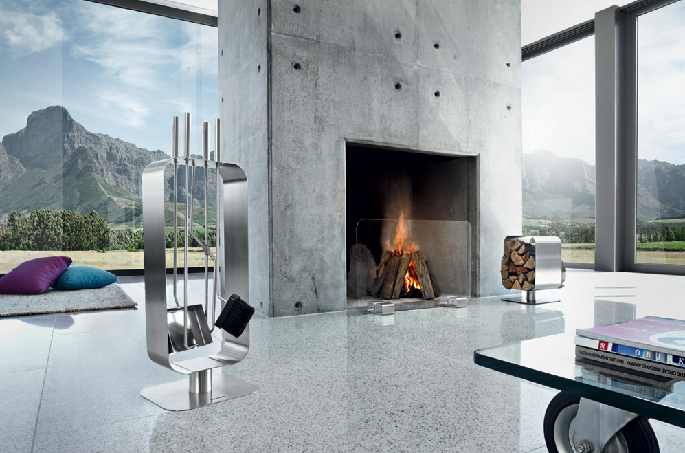 Modern Glass Stainless Steel Fireplace Screen Contemporary