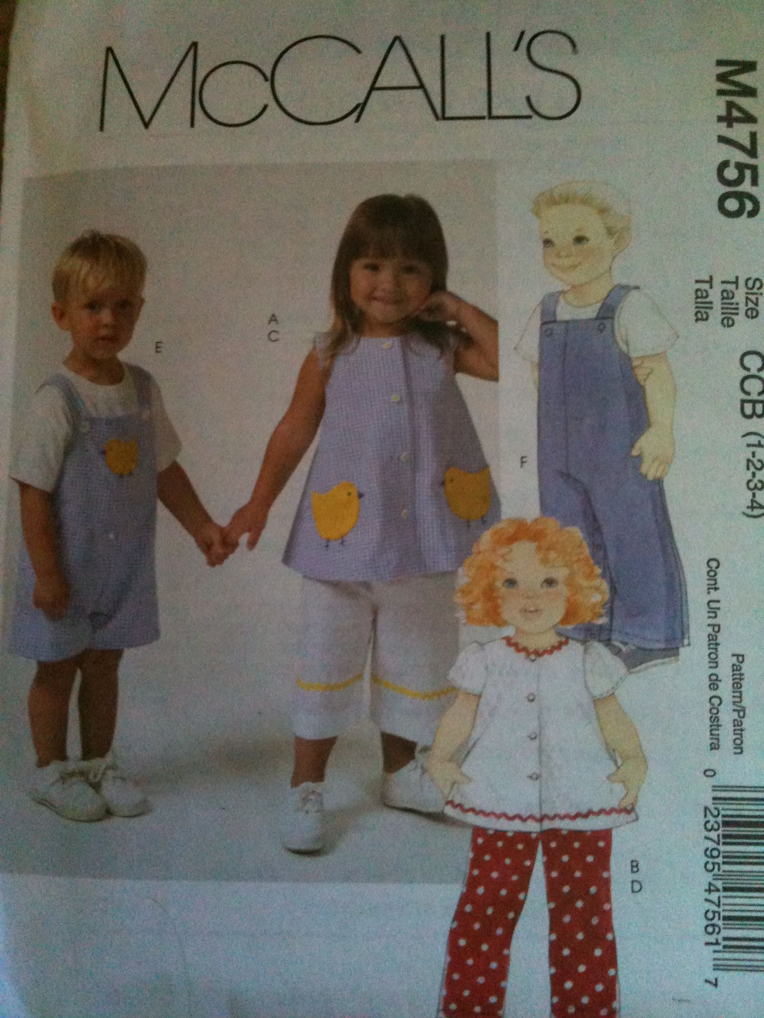 McCall's #M4756. Toddlers' tops, pants and jumpsuit in two lengths, size 1-4. Copyright 2005.