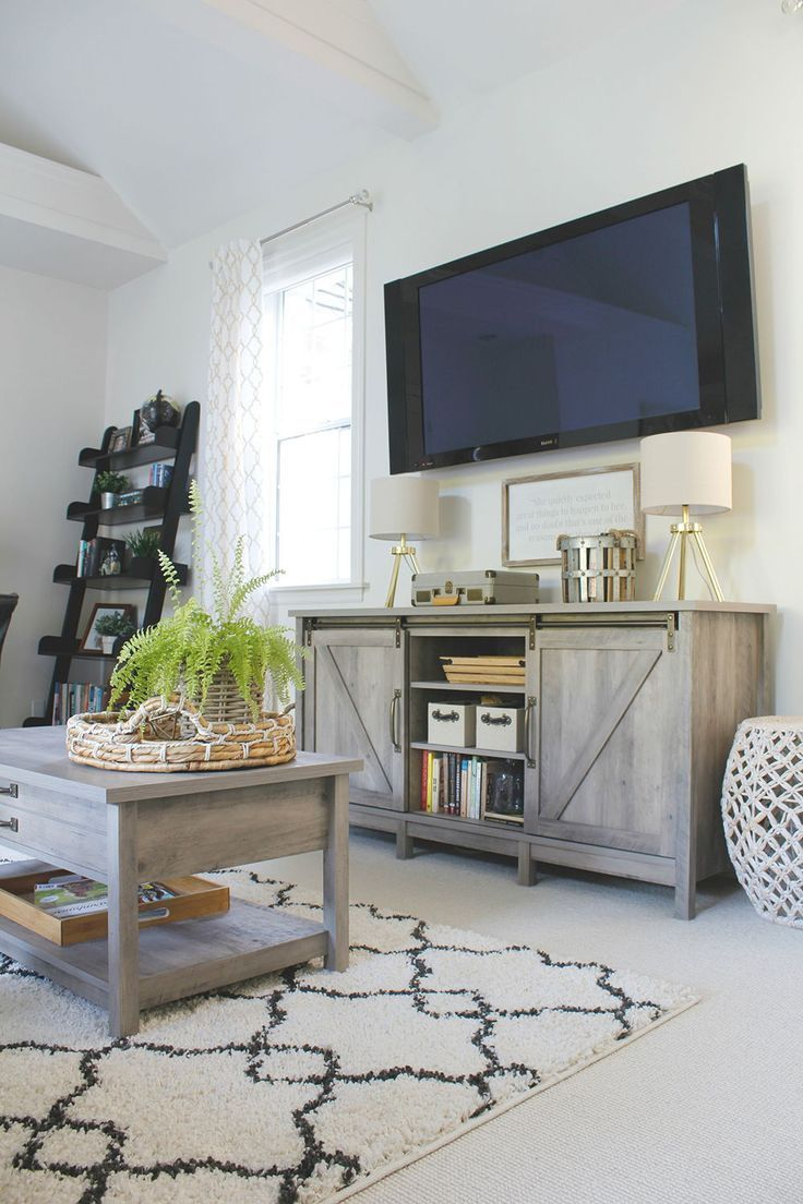 """Manor Park Fireplace TV Stand for TVs up to 55"""", Grey Wash"""