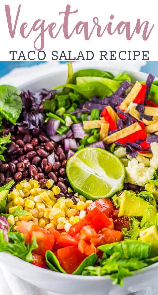 Vegetarian Taco Salad Recipe with Avocado Lime Dressing {Easy Dinner Idea}