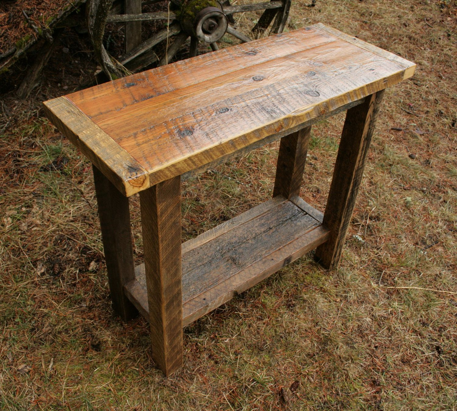 rustic cream sofa table best paint for leather reclaimed barnwood console 350 00 via