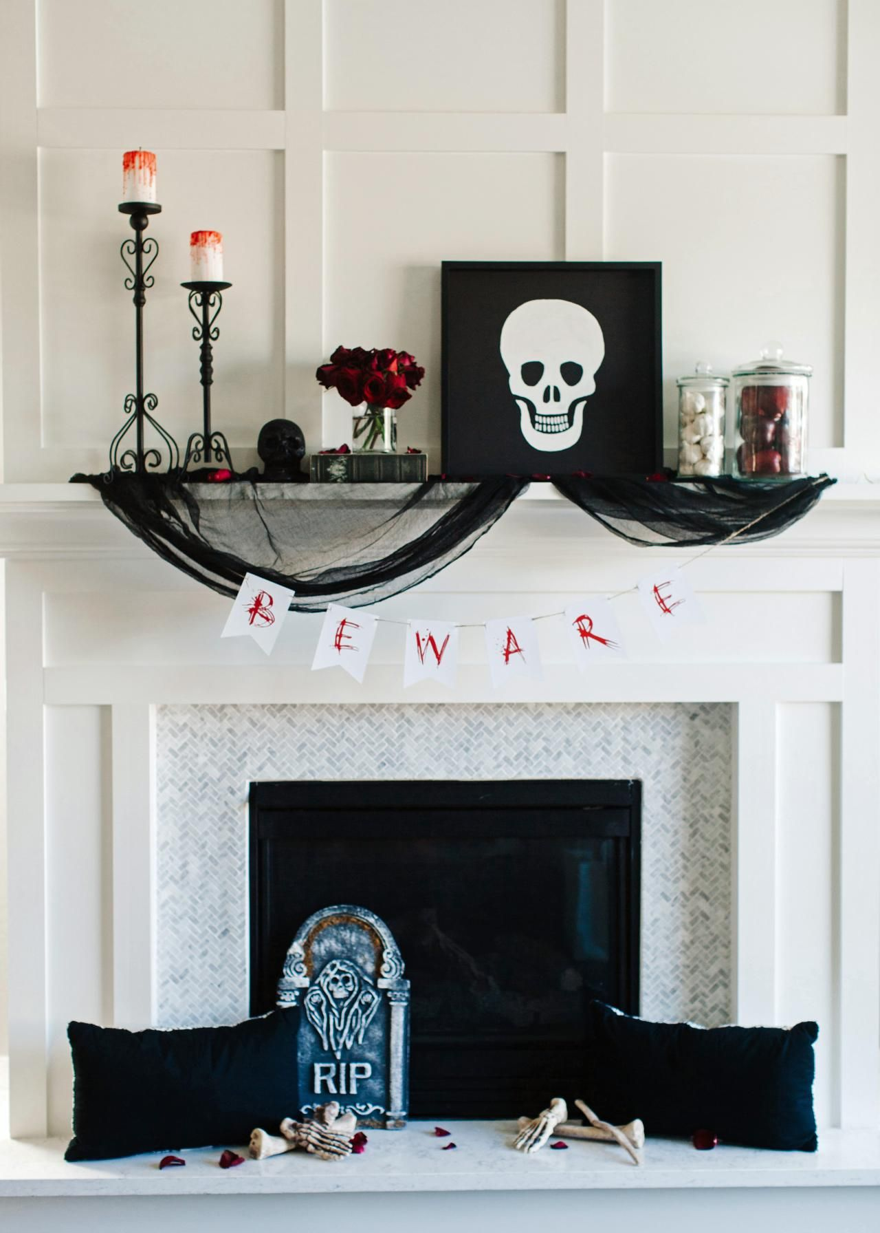 One Halloween Mantel Decorated 3 Ways Spooky, Glamorous and Classic - black and white halloween decorations