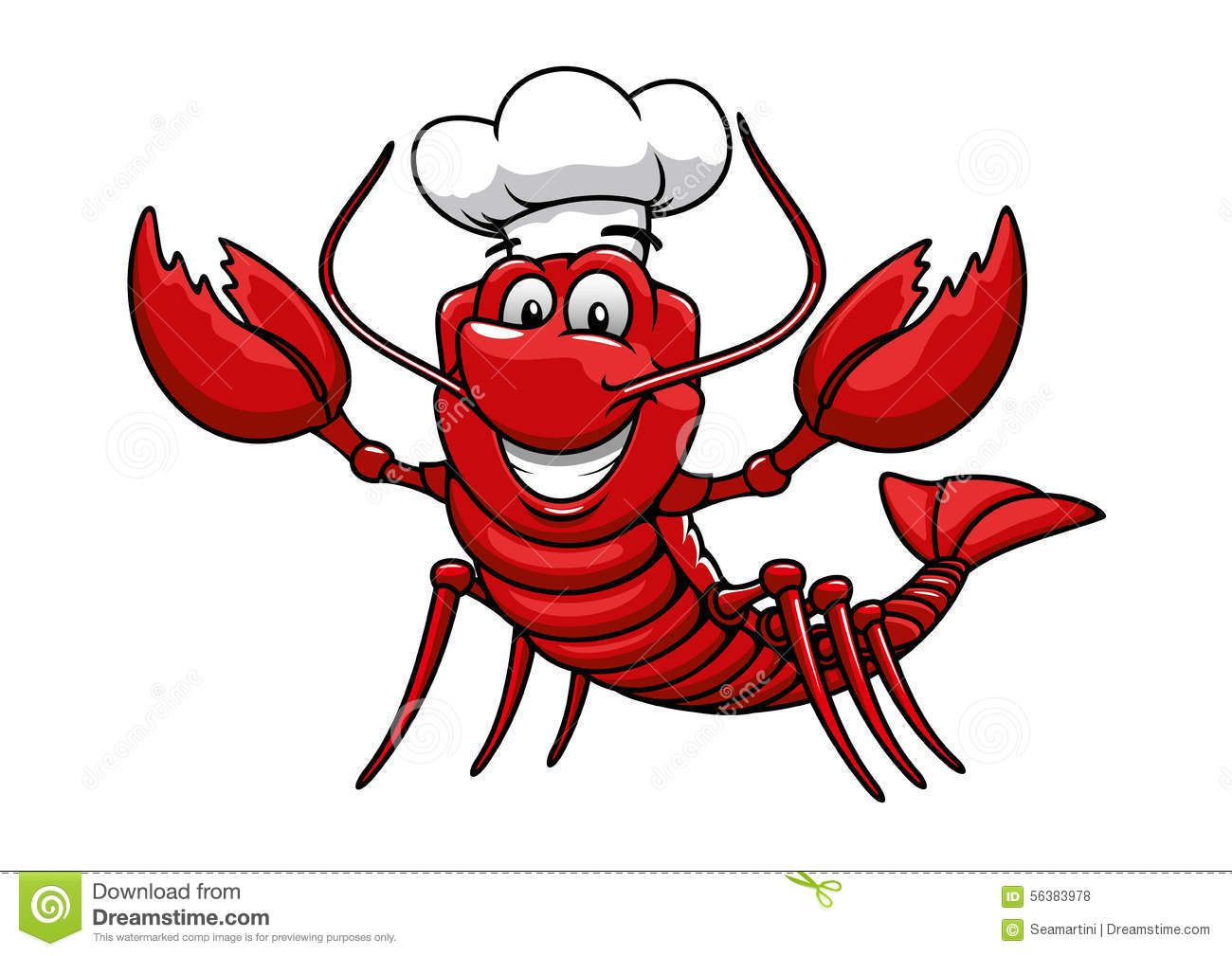 Illustration about Happy cartoon red lobster chef mascot