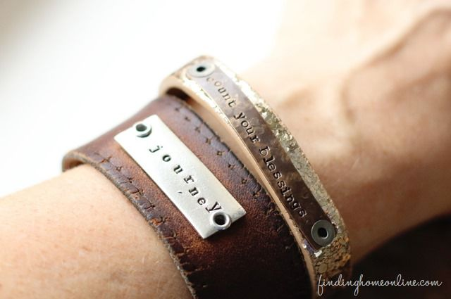 brown leather cuff with embossed and painted design personalized for you by farmgirl paints CUSTOM HANDSTAMPED CUFF bracelet