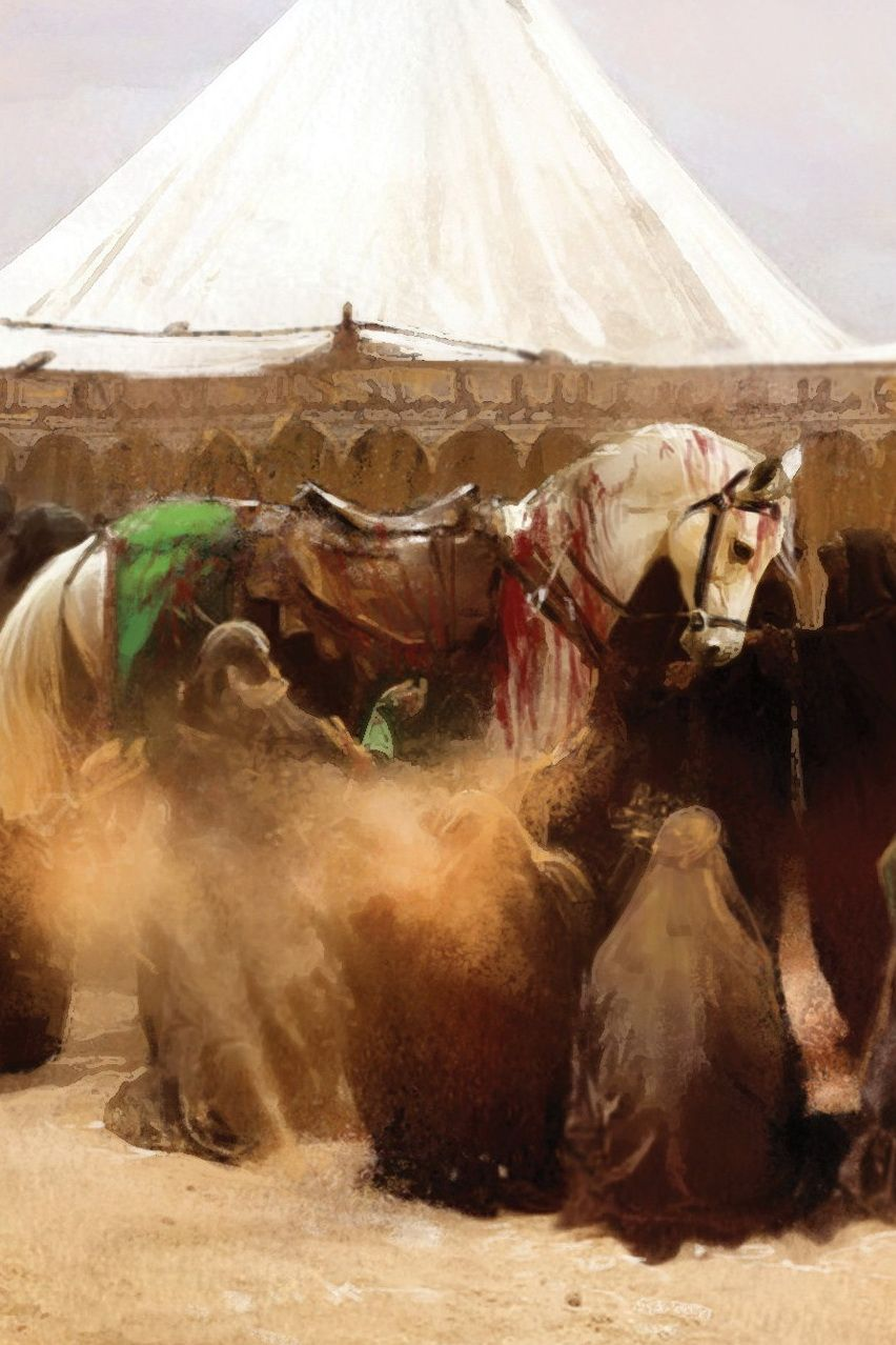 Imam Hussein's horse returns to the tent .. without his master. The the ladies of the Household are inconsolable as they surround and hold the Imam's horse.