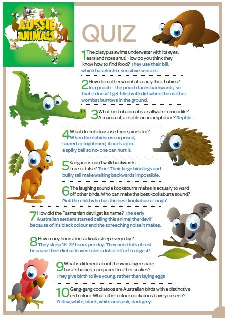 Aussie Animals Quiz questions & Answers-Just print them off! | sub
