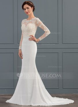 7e8457744809 Trumpet/Mermaid Scoop Neck Sweep Train Satin Wedding Dress (002127266) - Wedding  Dresses - JJsHouse