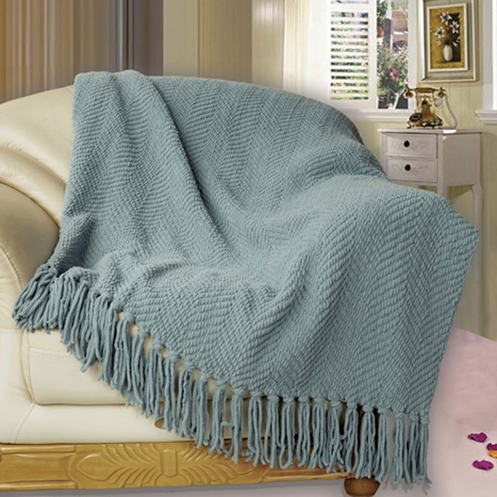 Bnf Home Knitted Tweed Bed Couch Bedding 50in X 60in Ultra Soft Blanket Throw