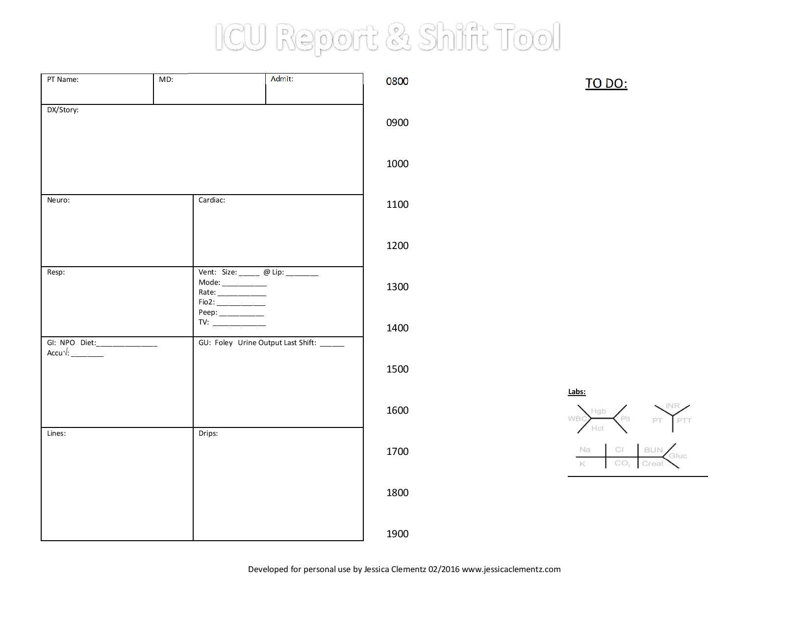 Nurse brain sheet icu report and shift tool nursing